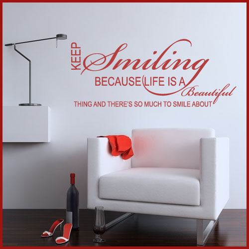 keep smiling word art wall sticker decals